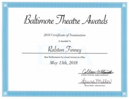Ralston Finney '19 Honored by Baltimore Theatre Awards